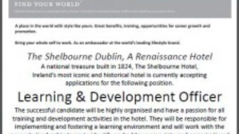 Learning & Development Officer, The Shelbourne Hotel, Dublin