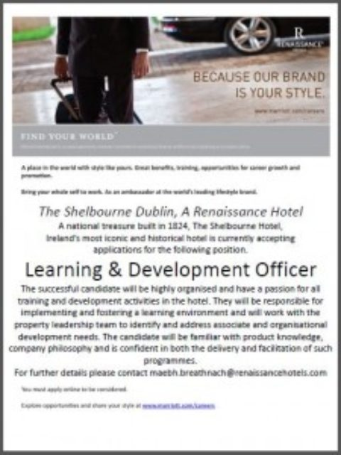 Learning & Development Officer, The Shelbourne Hotel, Dublin