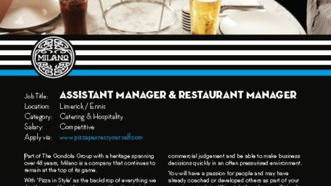Restaurant Manager & Assistant Manager, Milano Restaurant, Limerick & Ennis