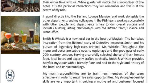 Assistant Bar Manager – Sheraton London Park Lane