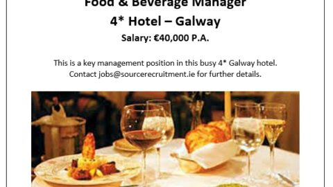 Food & Beverage Manager – 4* Hotel, Galway